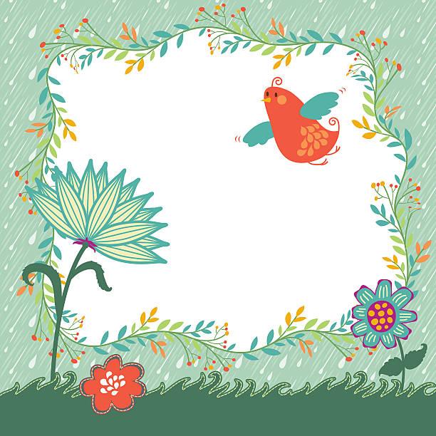 Spring Flower Bird Background vector art illustration
