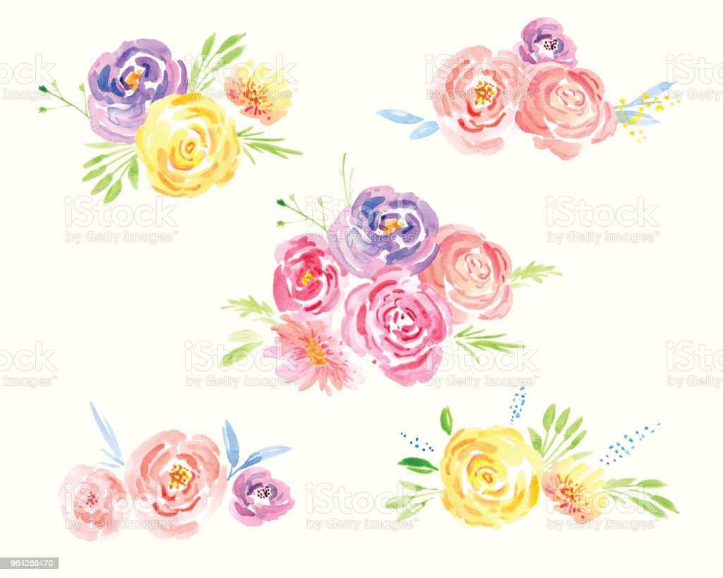 Spring Flower Watercolor Clip Art Stock Vector Art More Images Of