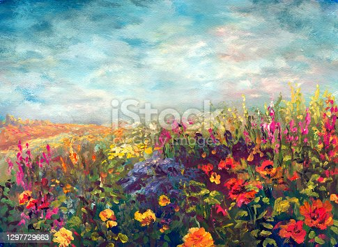 istock Spring flowering meadow, painting in the style of impressionism 1297729663