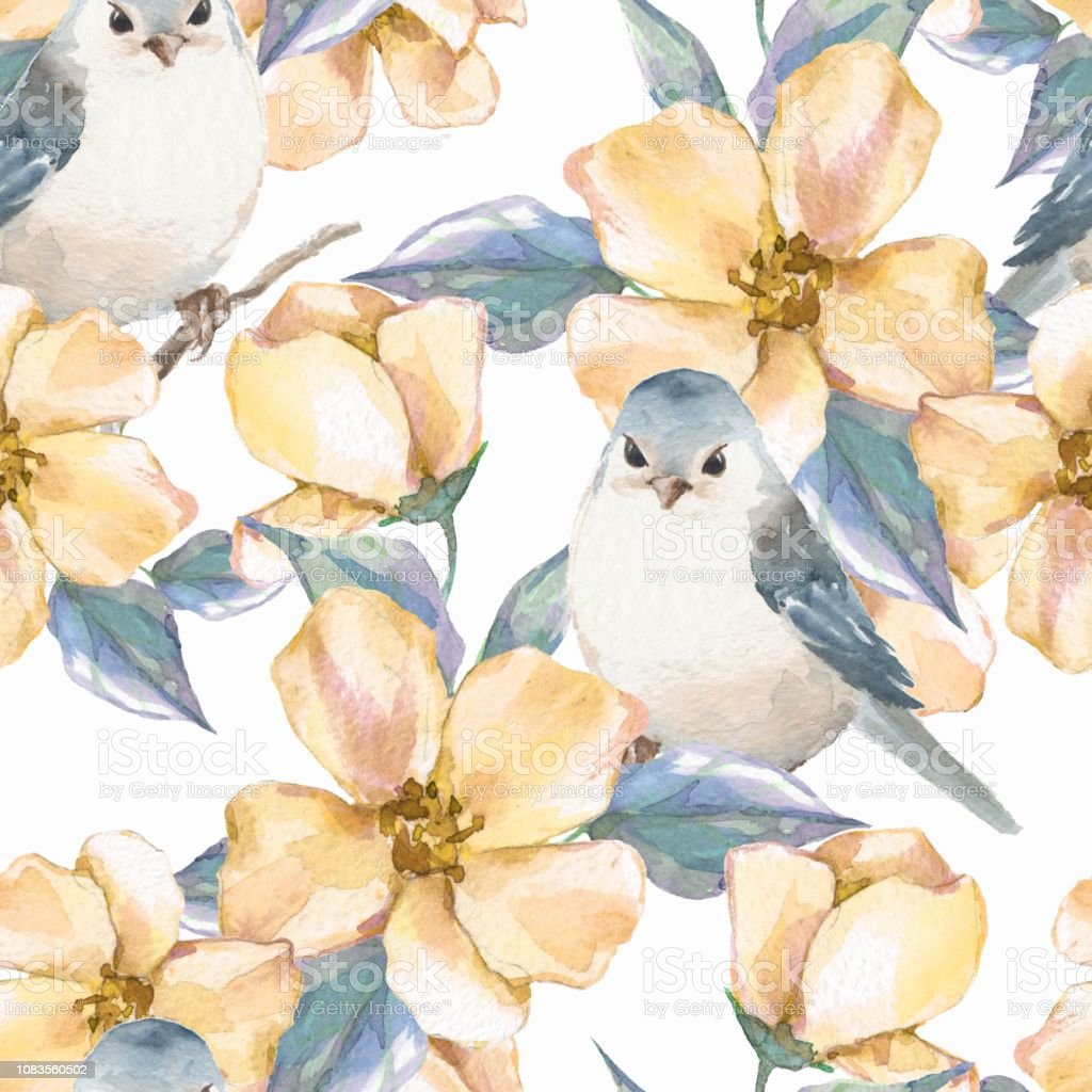 Spring Flowers And Birds Watercolor Seamless Pattern Stock Vector