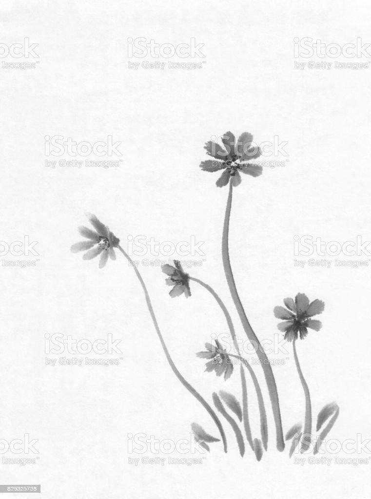 Bahar çiçekleri Mürekkep Boyama Stok Vektör Sanatı 2015nin Daha