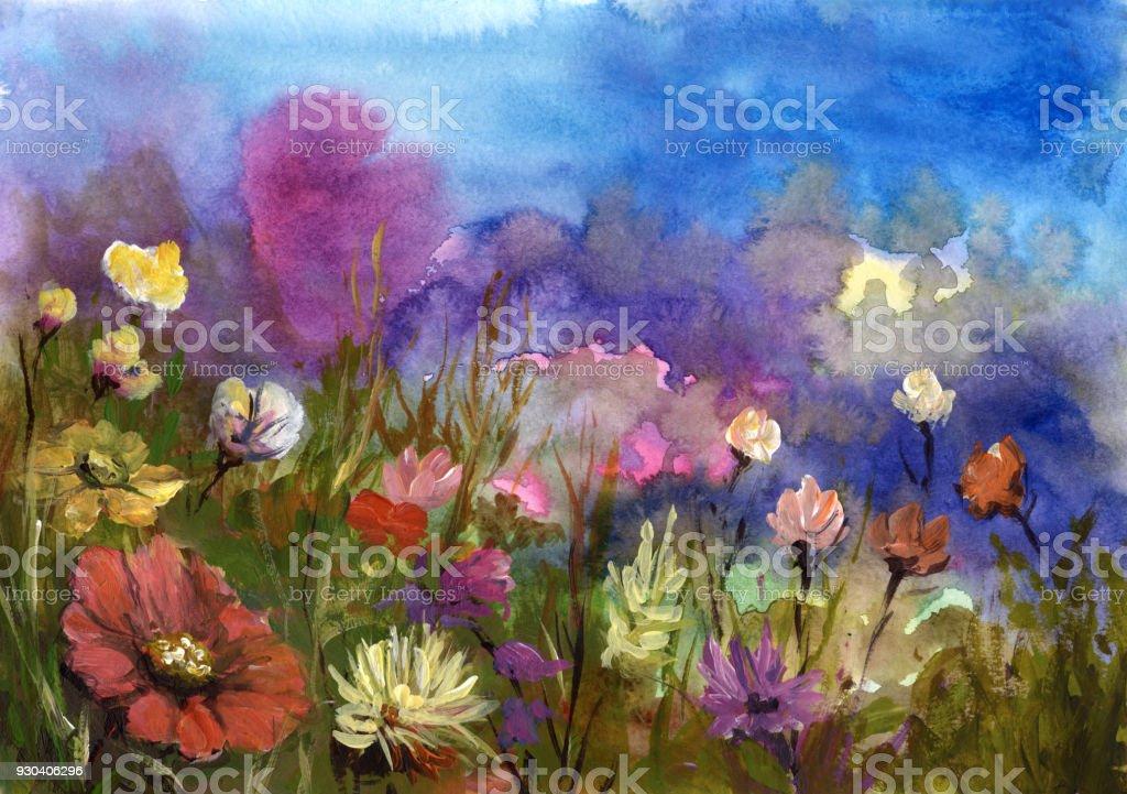 春の花、背景を描いた ベクターアートイラスト