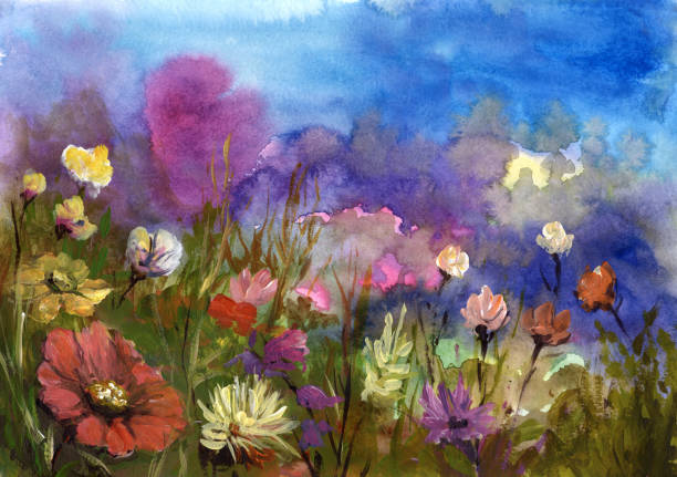 spring flowers, painted background spring flowers, painted background impressionism stock illustrations