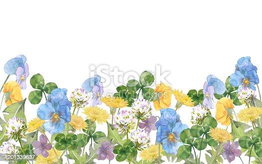 istock Spring flowers, pansy, dandelion, clover, violet 1201339637