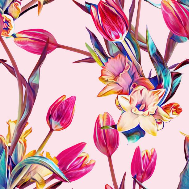 bildbanksillustrationer, clip art samt tecknat material och ikoner med vår blommor sömlös mönster mall. - tulpaner