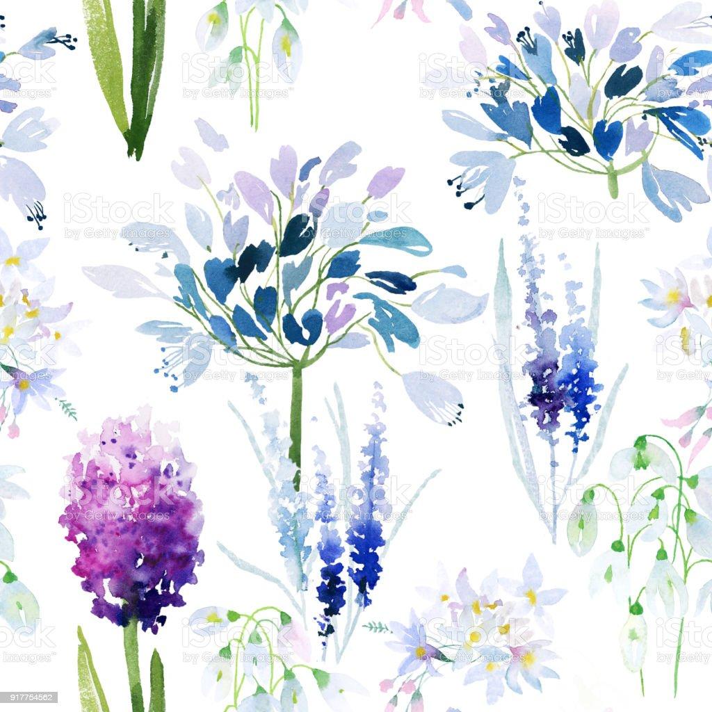 Spring flowers watercolor pattern vector art illustration