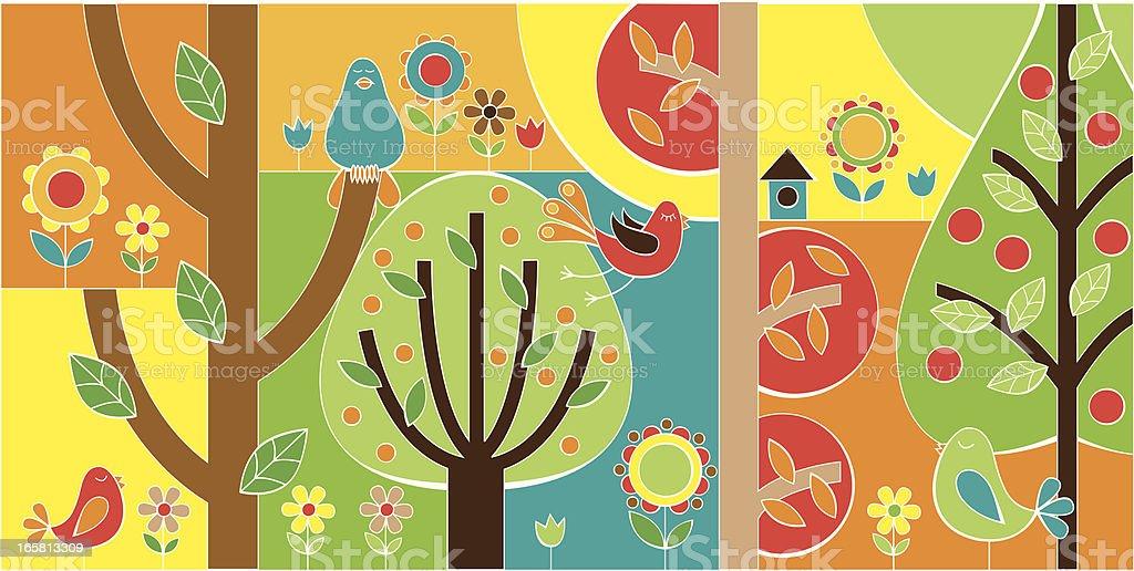 Spring Garden vector art illustration