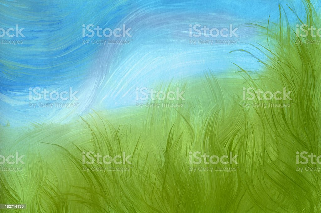 Spring Grass, painted background royalty-free stock vector art