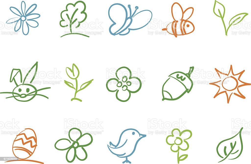 Frühling-Symbole – Vektorgrafik