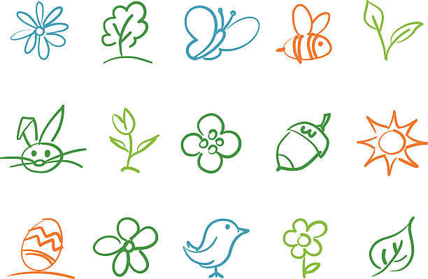 Spring icons  bee clipart stock illustrations