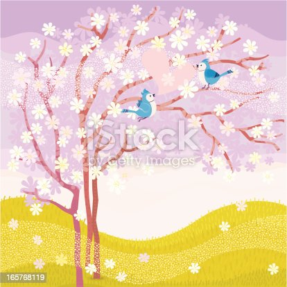Blue Jays couple sitting on a cherry blossom tree. Vector.