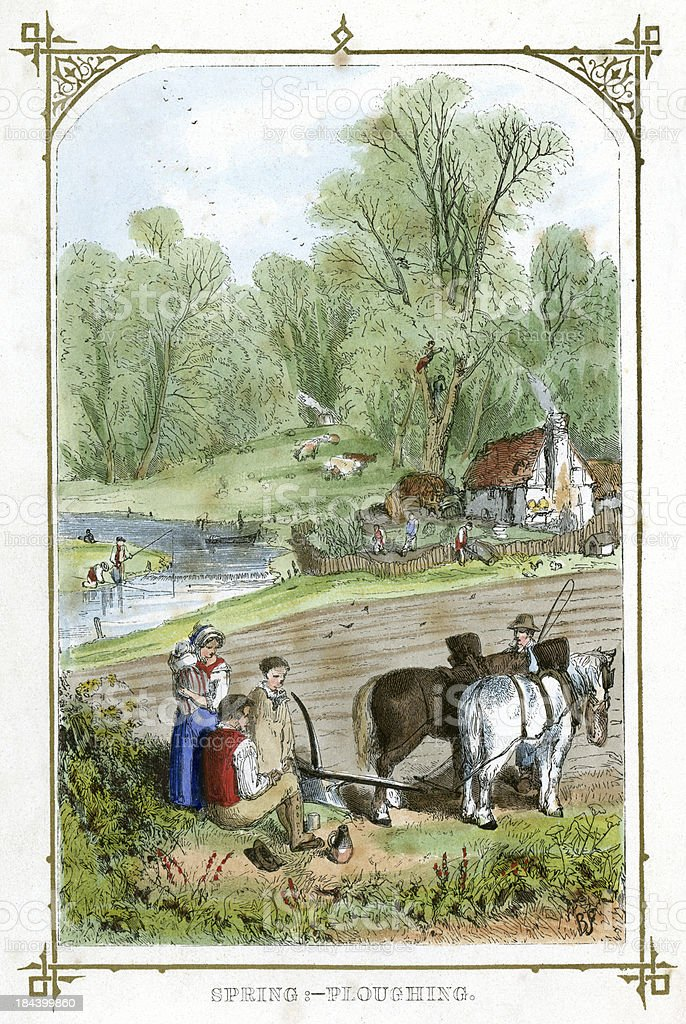Spring Ploughing royalty-free spring ploughing stock vector art & more images of 19th century