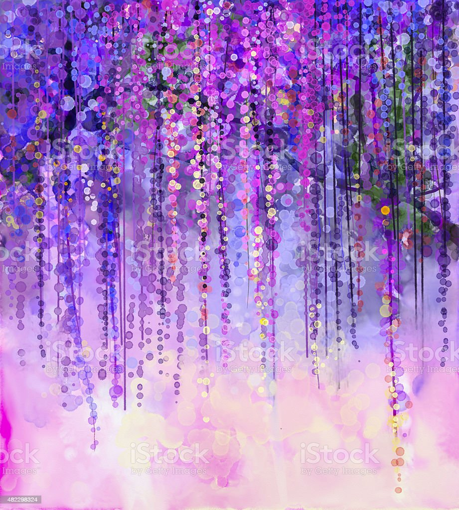 Spring Purple Flowers Wisteriawatercolor Painting Stock Vector Art