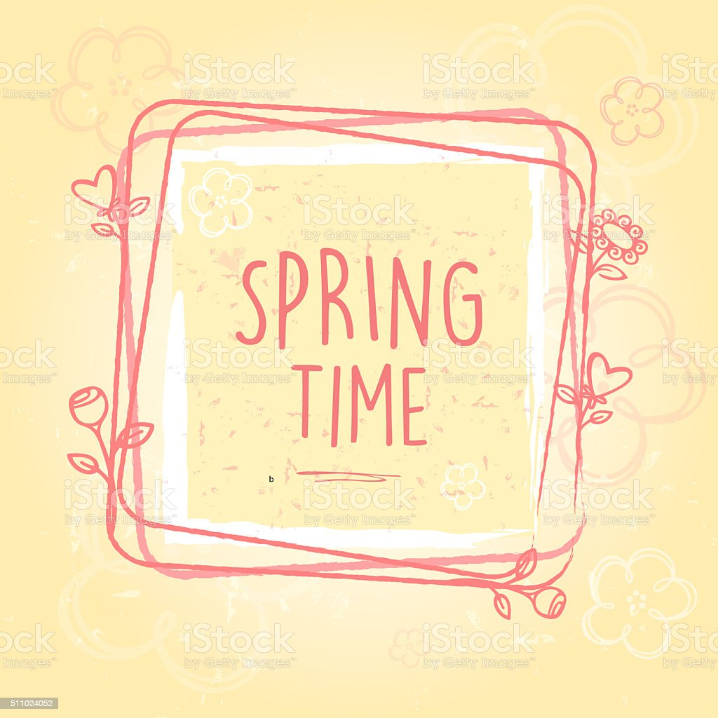 spring time in frame, flowers and hearts, old paper background vector art illustration