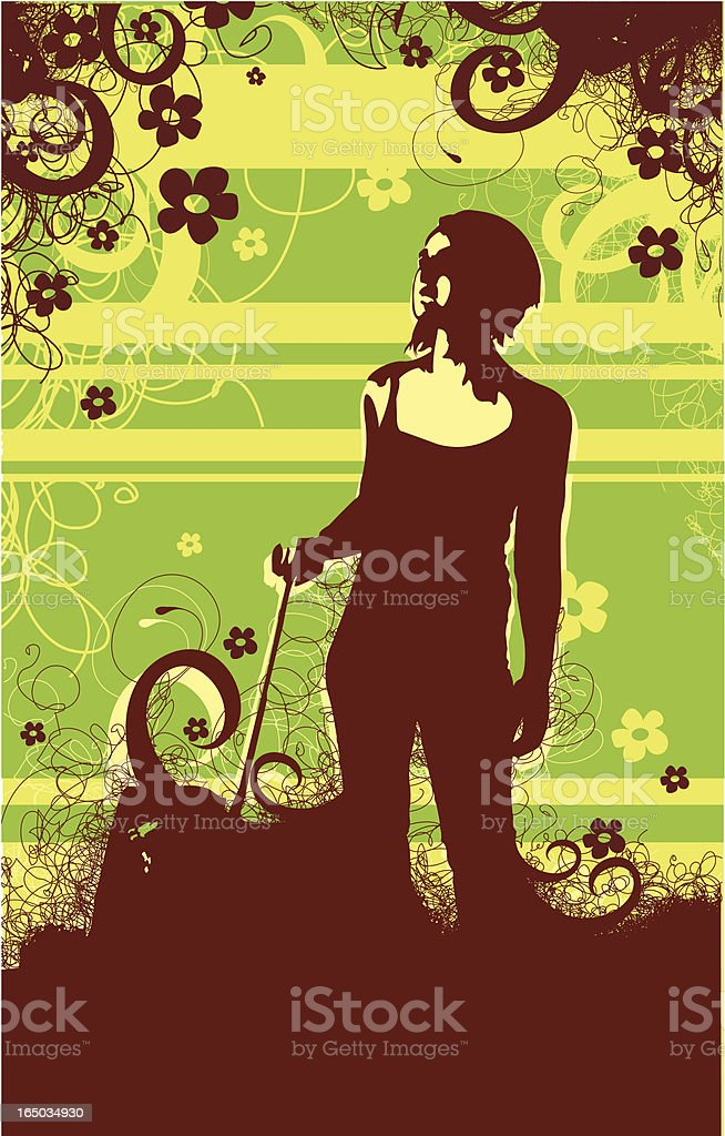 Spring walk with a dog royalty-free stock vector art