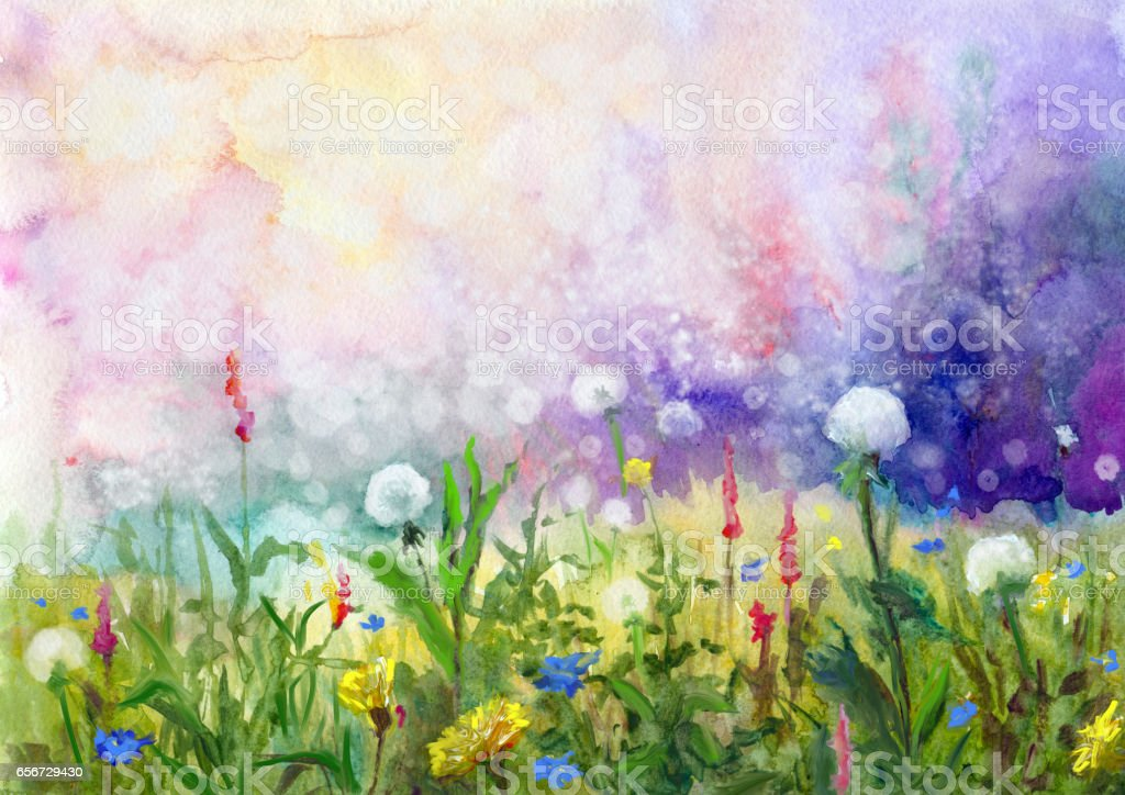spring, watercolor painting vector art illustration