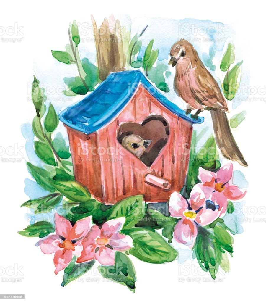 Spring_birds vector art illustration