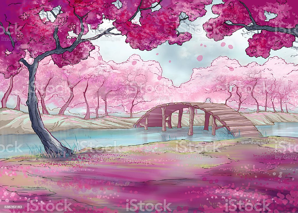 Spring.Cherry blossom.  Japanese garden vector art illustration