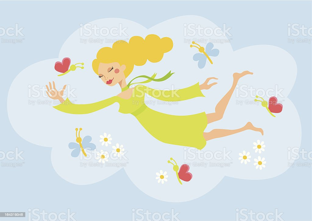 Springtime Girl vector art illustration