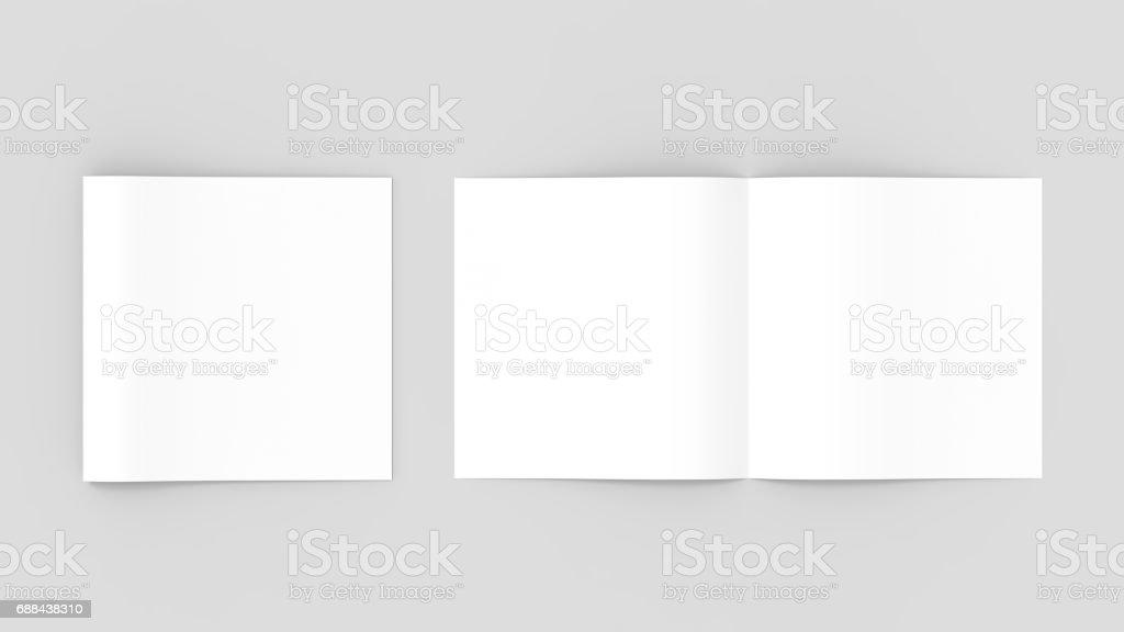 Spuare bi-fold , half fold brochure mock up. 3D illustrating vector art illustration