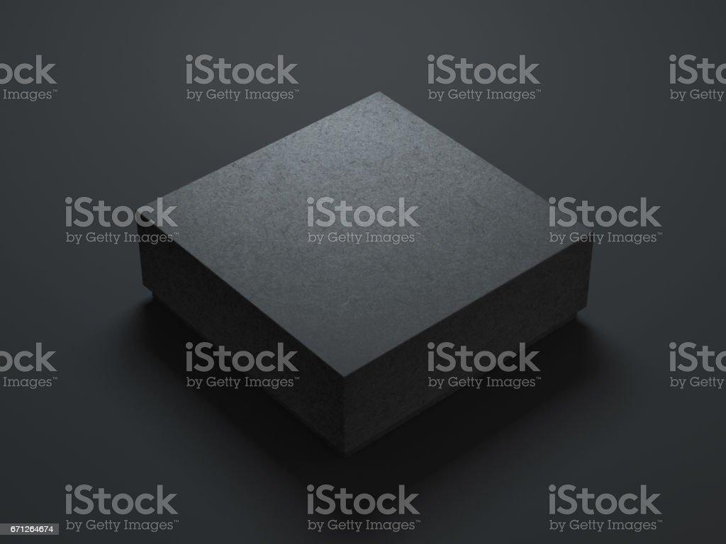 Square Black Box Mockup on dark background vector art illustration