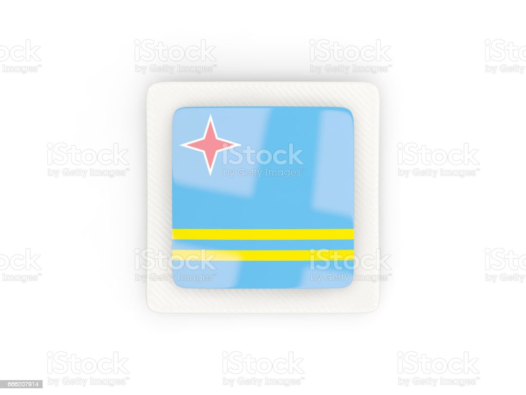 Square carbon icon with flag of aruba vector art illustration