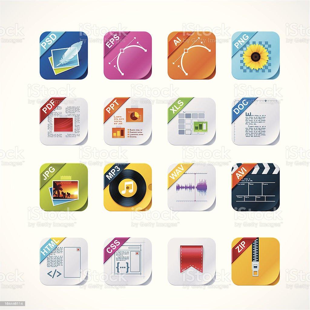 Square file labels icon set vector art illustration