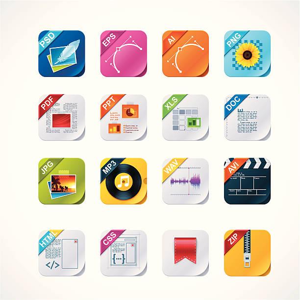 Square file labels icon setvectorkunst illustratie