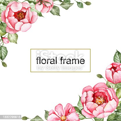istock Square floral frame. Template for greeting cards with copy space. Bouquets in the corners. Pink peony flowers with green leaves. Card frame for designing invitations. Watercolor botanical flowers 1332295615