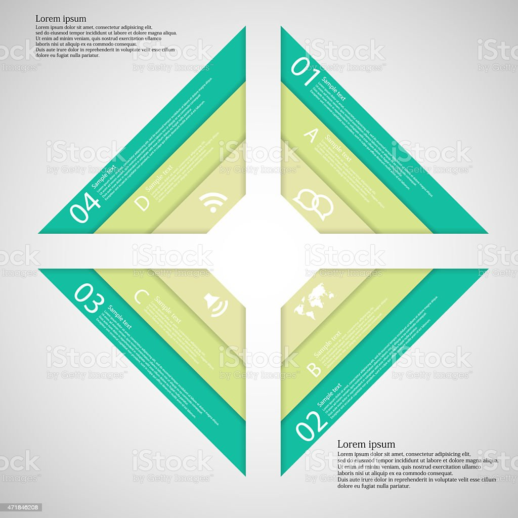 Square from four parts consists of three ribbons vector art illustration