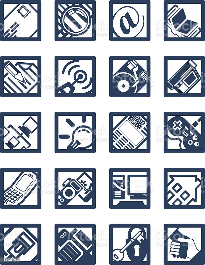 Square Internet Computing Icons royalty-free stock vector art