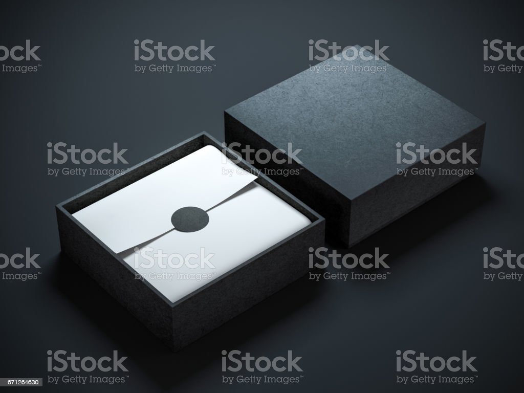 Carré a ouvert la boîte noire avec le papier d'emballage et étiquette - Illustration vectorielle