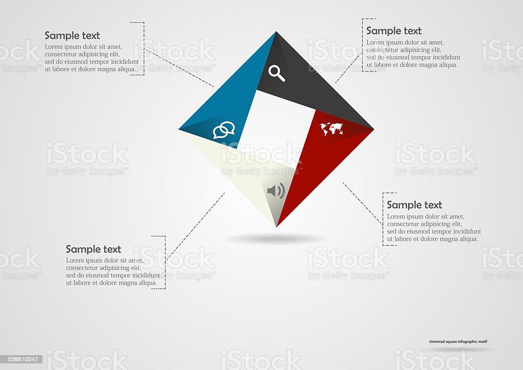 Square origami infographic vector art illustration