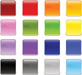 """""""Glossy Square shape Rounded Corner Buttons in 16 colors. Each button is in separate labeled layers in high resolution JPG, EPS and AI vector formats. Easy to edit and colorize!"""""""
