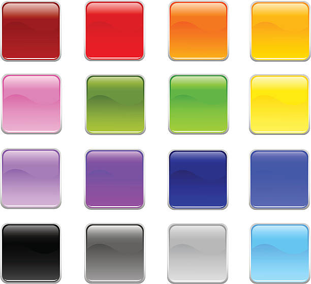 square rounded corner buttons - byteandpixel stock illustrations