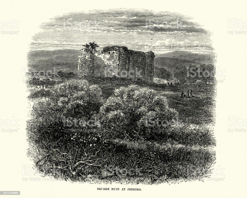 Square ruin at Jericho, 19th Century vector art illustration
