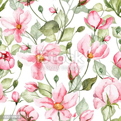 istock Square seamless pattern with watercolor hand painted pink flowers and green leaves on white background. Soft floral  wallpapers 1332295613