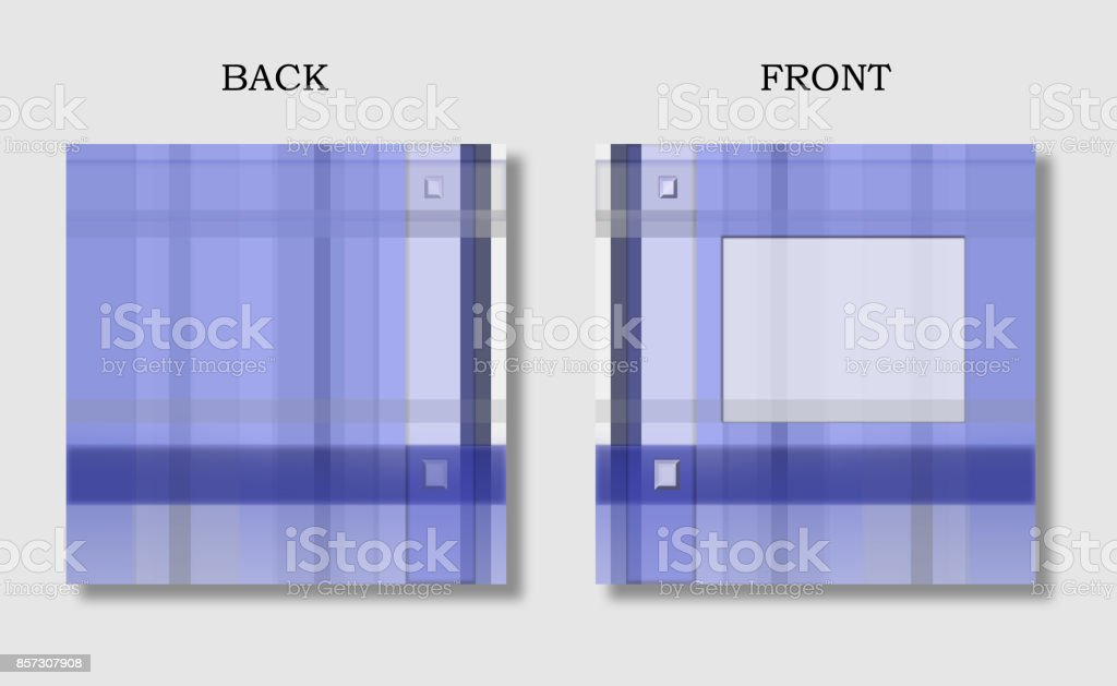 Square templates for cover: front and back. Layout with text box for brochure, book, magazine, diary design. Geometric background in blue and violet hues vector art illustration