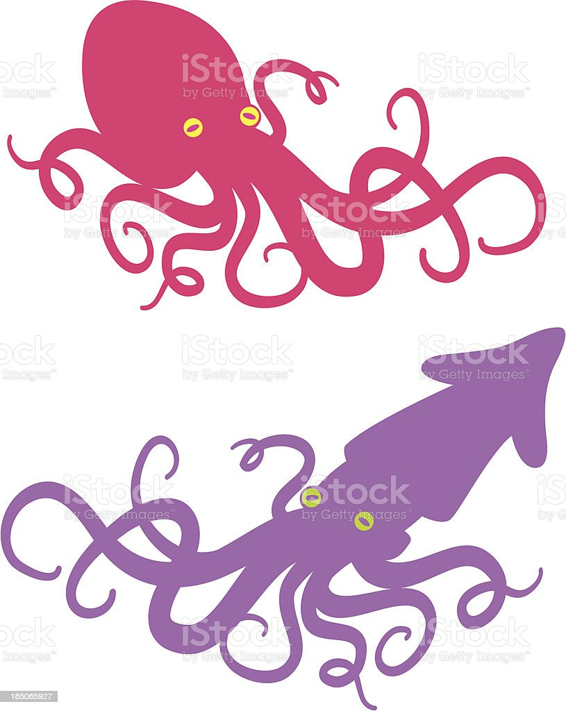 squid and octopus royalty-free stock vector art