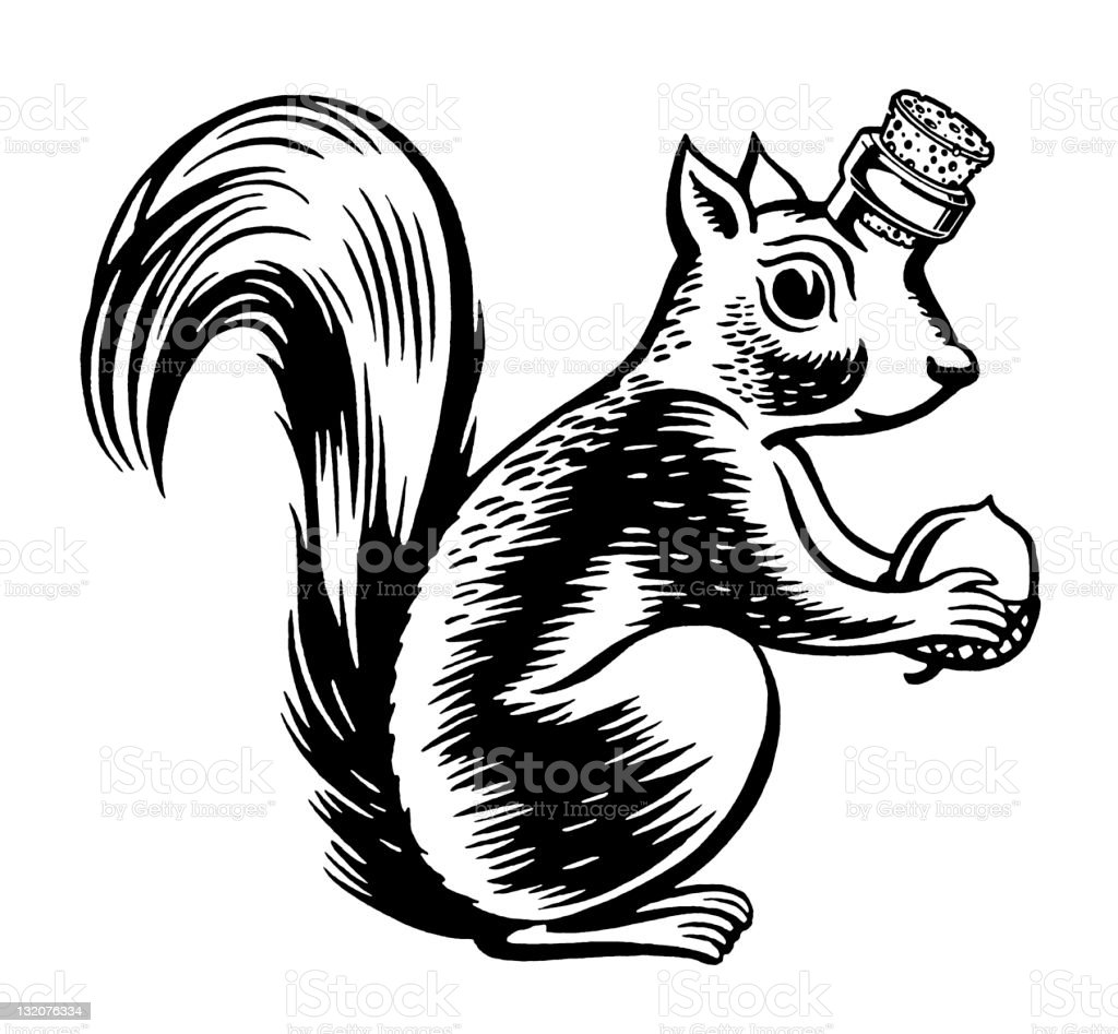 Squirrel Bottle royalty-free squirrel bottle stock vector art & more images of acorn