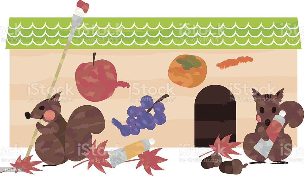 秋を楽しむリス royalty-free stock vector art