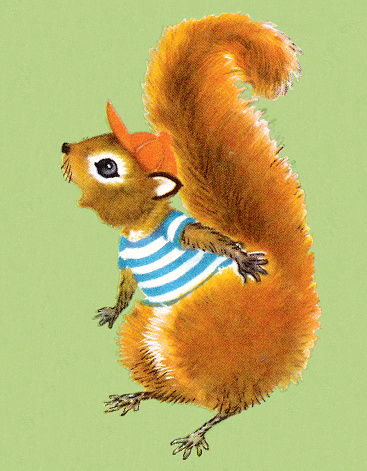 Squirrel in Striped Shirt and Cap