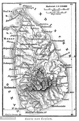 istock Srilanka former Ceylon map 1895 685050486