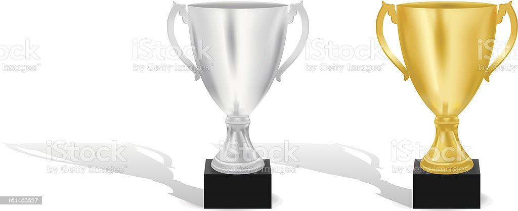SSilver and Gold trophy cups vector illustration royalty-free stock vector art