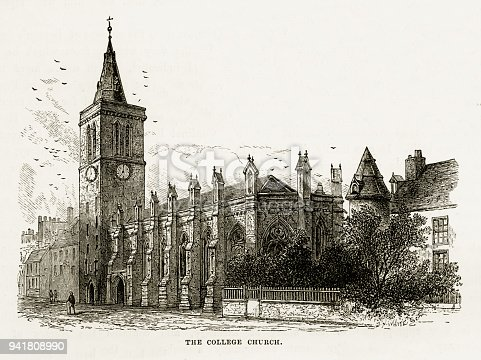 Very Rare, Beautifully Illustrated Antique Engraving of St. Andrew's College Church in St. Andrew's, Scotland Victorian Engraving, 1840. Source: Original edition from my own archives. Copyright has expired on this artwork. Digitally restored.