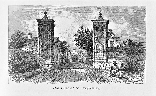 St. Augustine, founded in Florida by the Spanish in 1565, is the oldest town in the United States. Illustration published in The New Eclectic History of the United States by M. E. Thalheimer (American Book Company; New York, Cincinnati, and Chicago) in 1881 and 1890. Copyright expired; artwork is in Public Domain.