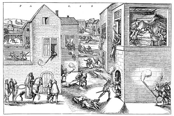 """St. Bartholomew's Day massacre """"The St. Bartholomew's Day massacre (Massacre de la Saint-BarthAlemy in French) in 1572 was a targeted group of assassinations, followed by a wave of Roman Catholic mob violence, both directed against the Huguenots (French Calvinist Protestants), during the French Wars of Religion."""" mass murder stock illustrations"""