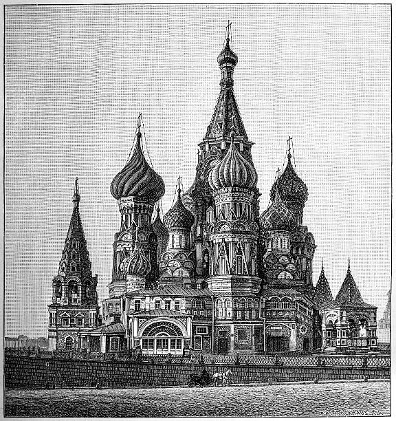St Basil's Cathedral, Moscow St Basil's Cathedral, Moscow (The Cathedral of the Protection of Most Holy Theotokos on the Moat).  kremlin stock illustrations