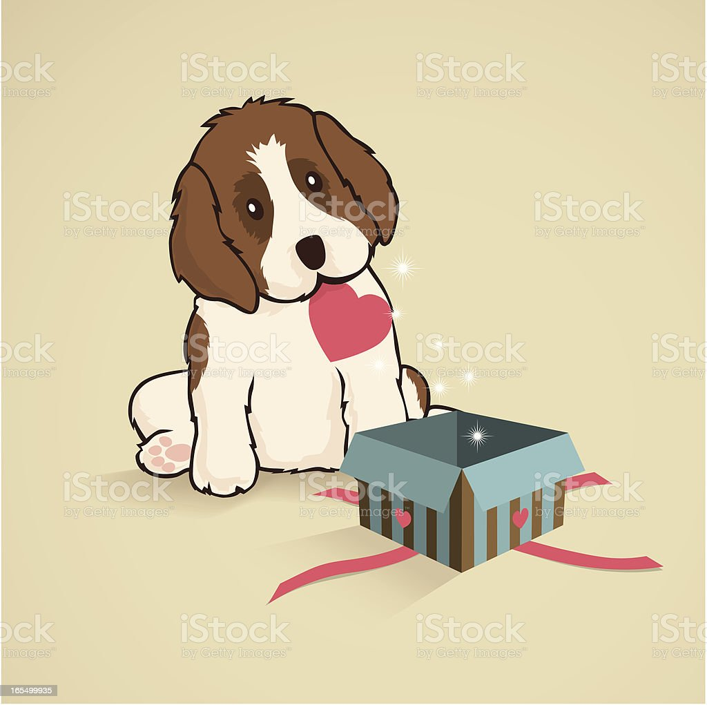 St Bernad Puppy and Present vector art illustration