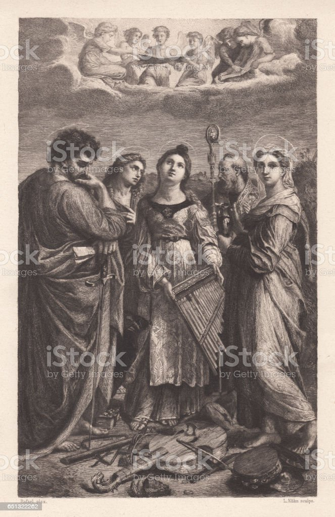 St. Cecilia, painted (1516/17) by Raphael, Bologna, Italy, published 1884 vector art illustration